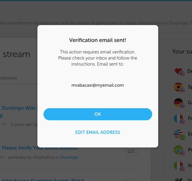 how do i verify my email address duolingo help center